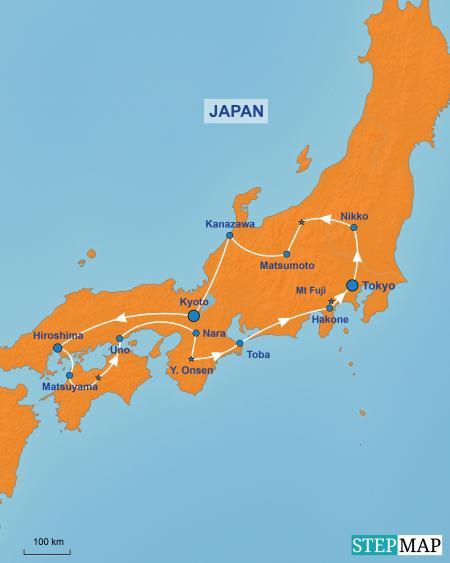 kaart van de TME-camperreis-door-Japan